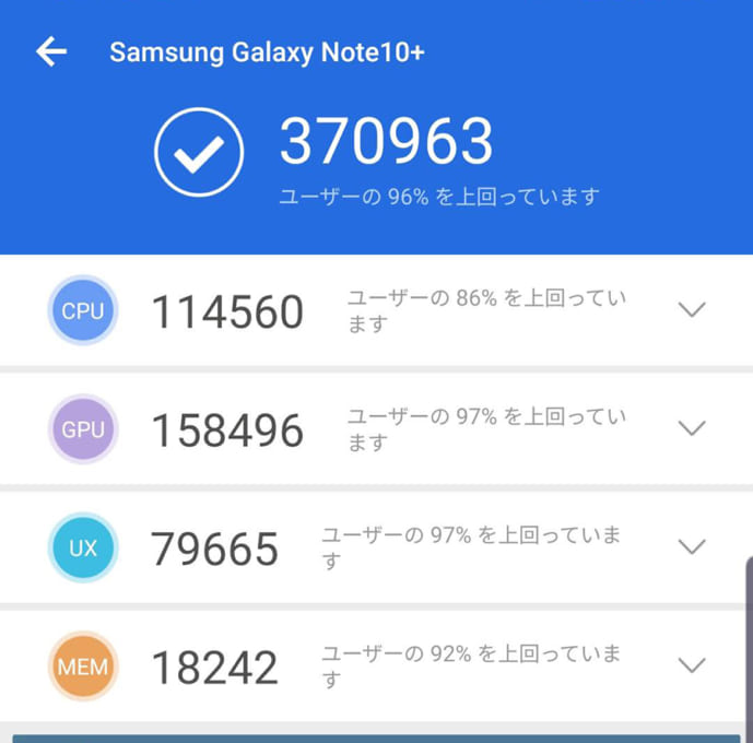 Galaxy Note10+のベンチマークスコア