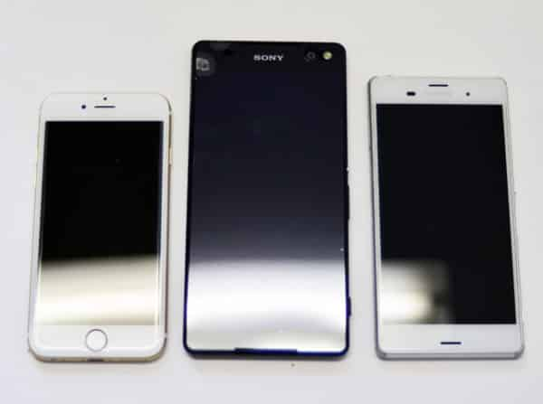 左:iPhone6s 中央:Sony Xperia C5 Ultra 右:Xperia Z3