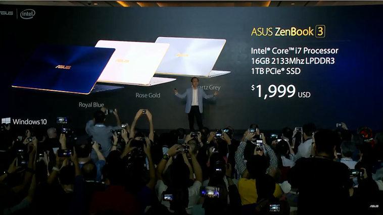 ASUS、薄型ノート「ZenBook3」を発表!999ドルから
