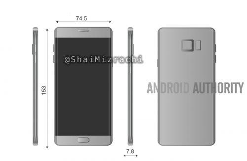 Samsung、『GalaxyNote7』の図面がリーク!デュアルエッジスクリーン搭載か