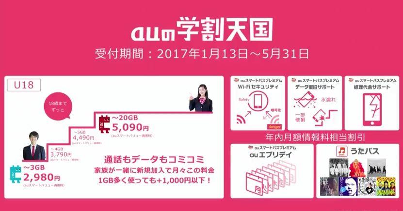 KDDI、2017年学割発表!「auの学割天国」で通話もデータもコミコミで月々2,980円から利用可能に!