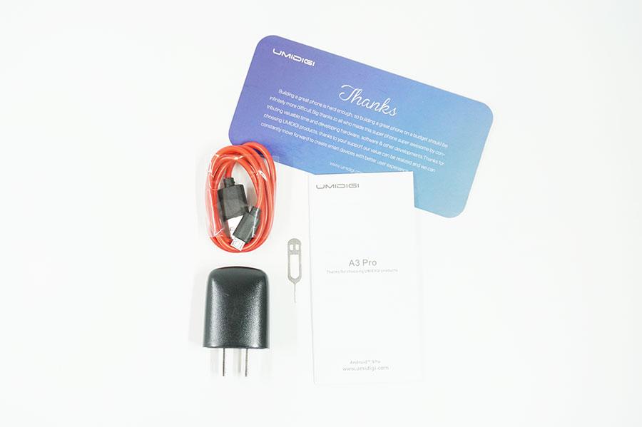 UMIDIGI A3 Proの付属品