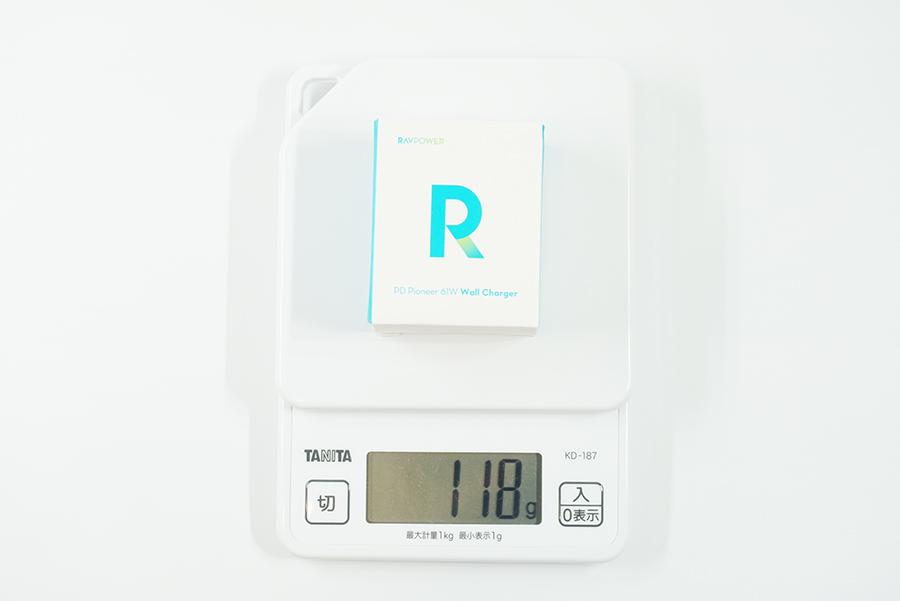 RAVPower RP-PC112の箱ごとの重さ合計
