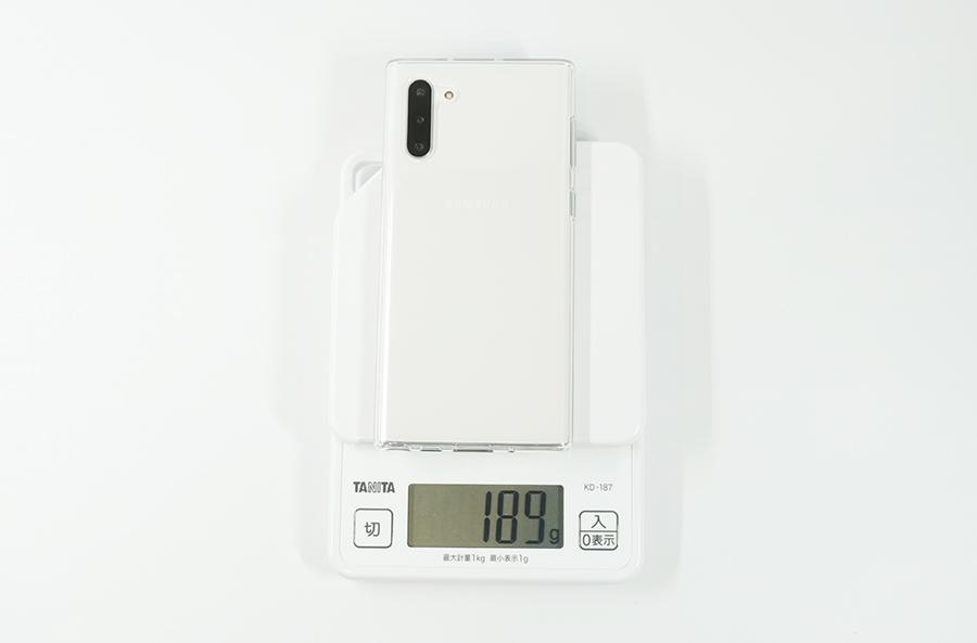 Galaxy Note10に純正ケースを付けたときの重さ