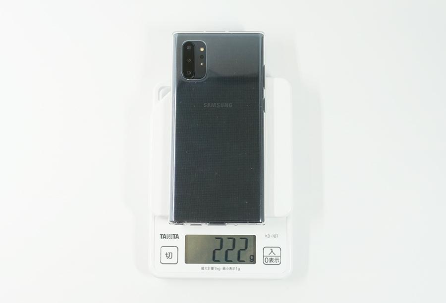 Galaxy Note10+の純正ケースを付けた時の重さ