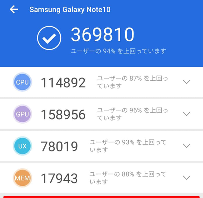 Galaxy Note10のベンチマークスコア