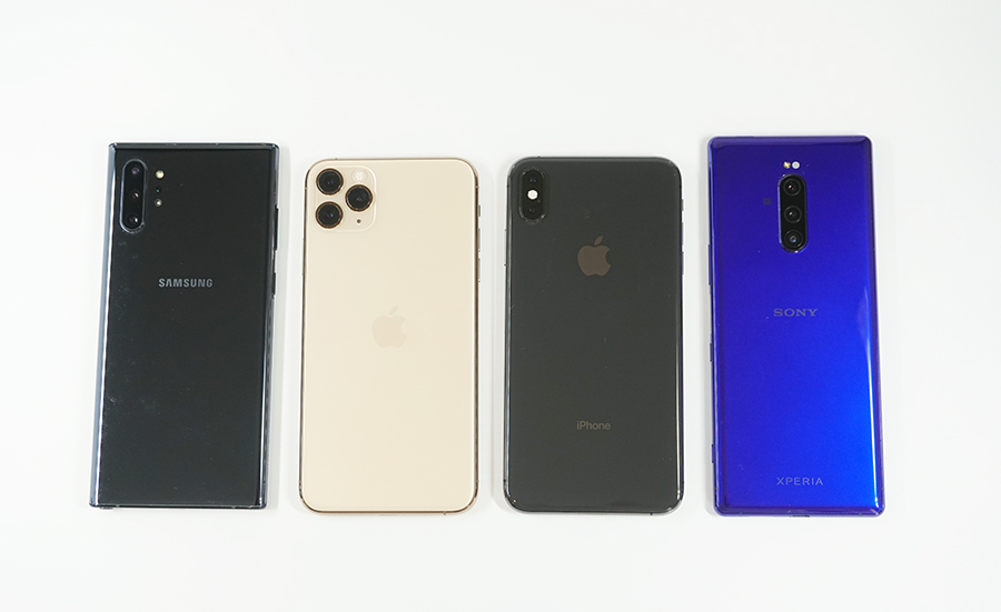 左からGalaxy Note10+、iPhone 11 Pro Max、iPhone XS Max、Xperia 1