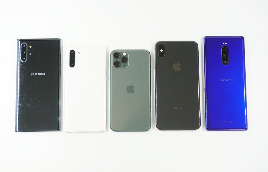 左からGalaxy Note10+、Galaxy Note10、iPhone 11 Pro、iPhone XS Max、Xperia 1