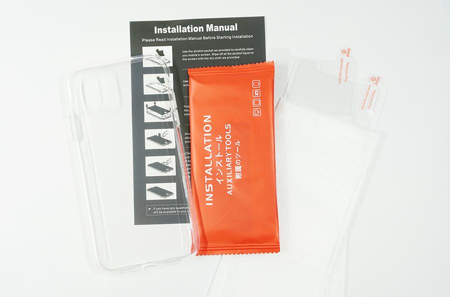 ガラスフィルム2枚つき、保護ケースも付属