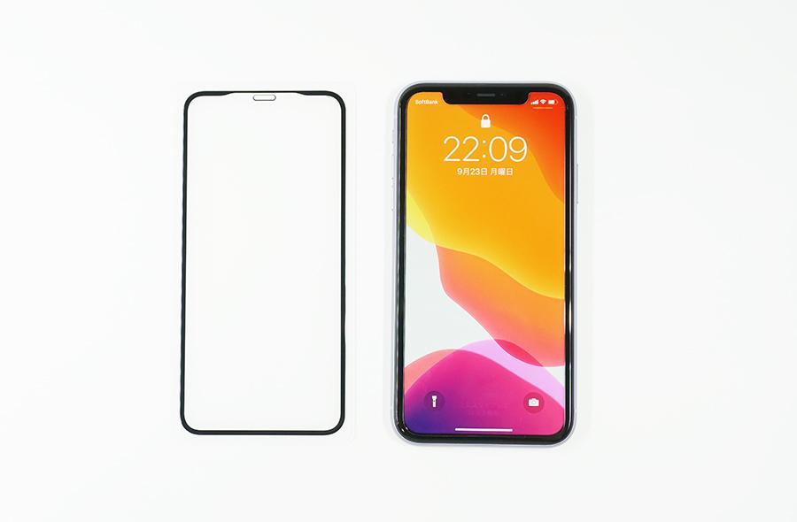 SHINEZONEの縁まで覆える全面保護強化ガラスフィルムとiPhone 11