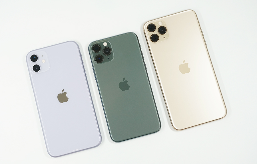 左からiPhone 11、iPhone 11 Pro、iPhone 11 Pro Max