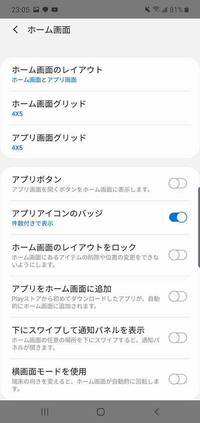 ホーム画面のレイアウトやアプリのアイコンのバッジ、アプリの非表示等の細かな設定が行える