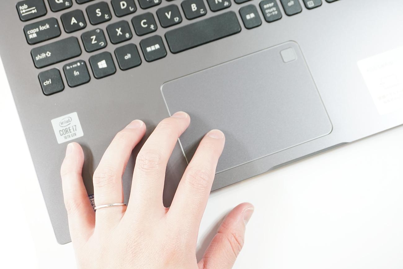 ASUS X545FAのタッチパッドと指紋認証