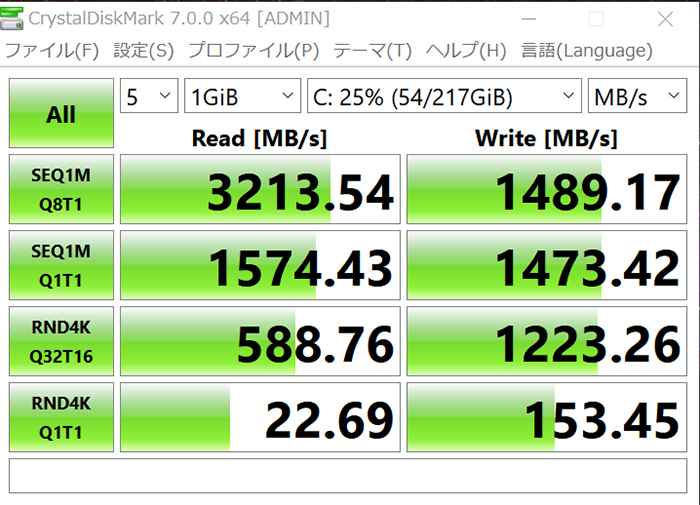 CrystalDiskMarkで読み込み速度と書き込み速度を計測