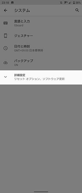 システム→ジェスチャー
