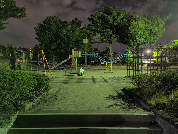 OPPO Find X2 Proで撮影した夜間の公園