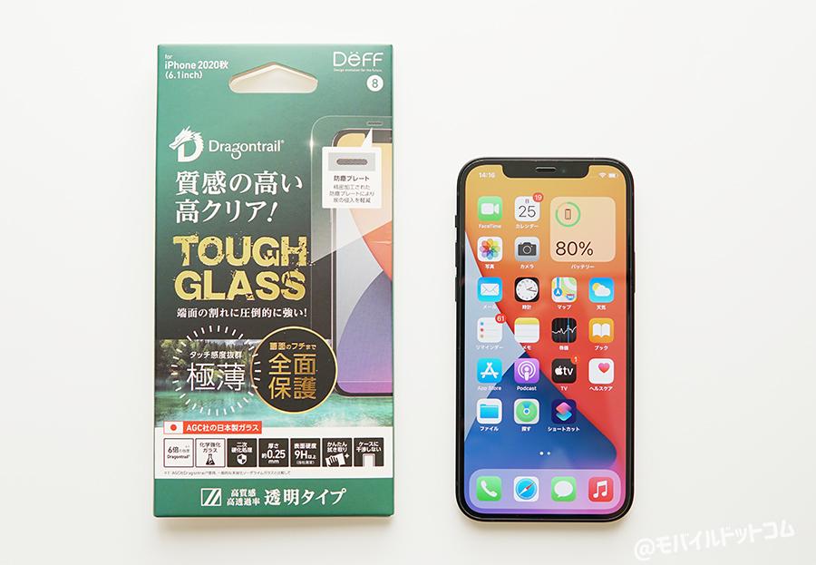 iPhone 12 / 12 Pro用の「Deff TOUGH GLASS DragonTrail 透明タイプ」