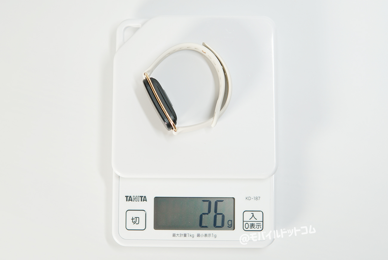 重さは約26gスタイルストラップ時の実測値